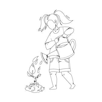 Саженец посадки и полива девочек черная линия карандашный рисунок вектор. уход за молодым деревом маленький ребенок в саду. характер растения саженец, занятие садоводством и экология окружающей среды иллюстрации