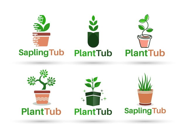 Sapling tub vector logo design
