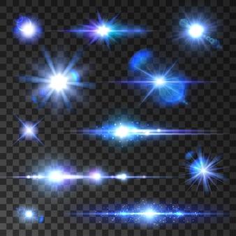 Sar 샤인 세트. 신나는 별, 빛나는 광선, 렌즈 플레어 효과가있는 푸른 네온 광선. 새 해, 크리스마스에 대 한 투명 한 배경에 고립 된 아이콘