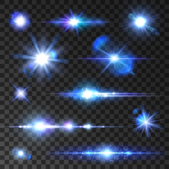 Sar shine set. sining stars, glittering beams, blue neon light rays with lens flare effect. isolated icons on transparent background for new year, christmas