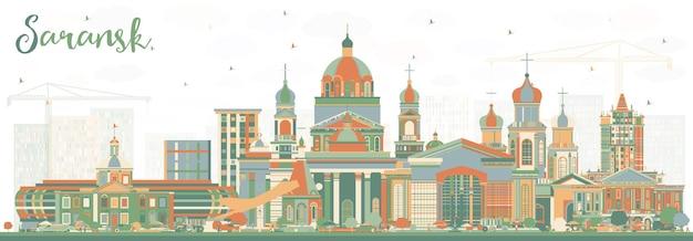色の建物とサランスクロシアの街のスカイライン。ベクトルイラスト。近代建築とビジネス旅行と観光の概念。ランドマークのあるサランスクの街並み。