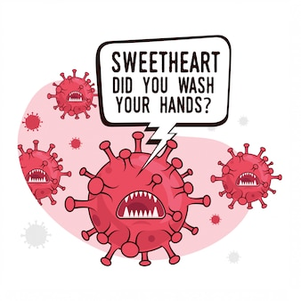 Covid-19コロナウイルス微生物のマスコットのグループでの手洗いに関する皮肉な動機付けのポスターと質問のあるバブルメッセージ:手を洗いましたか?漫画スタイルのイラスト