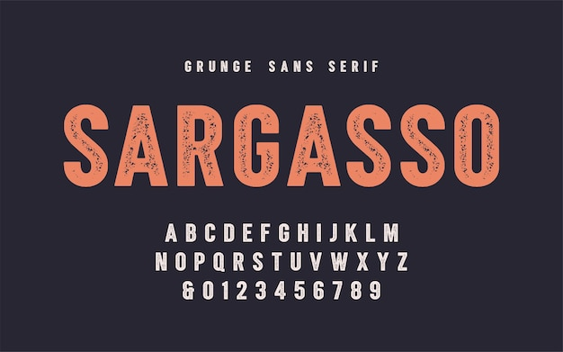 Sargasso grunge san serif vector font, alphabet, typeface, uppercase letters and numbers. global swatches.
