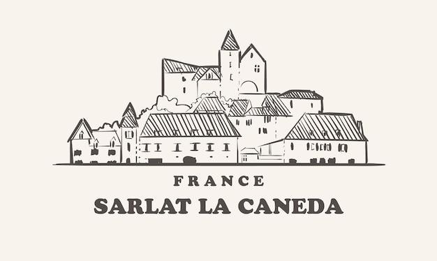 Sarlat la caneda 스카이 라인 일러스트 디자인
