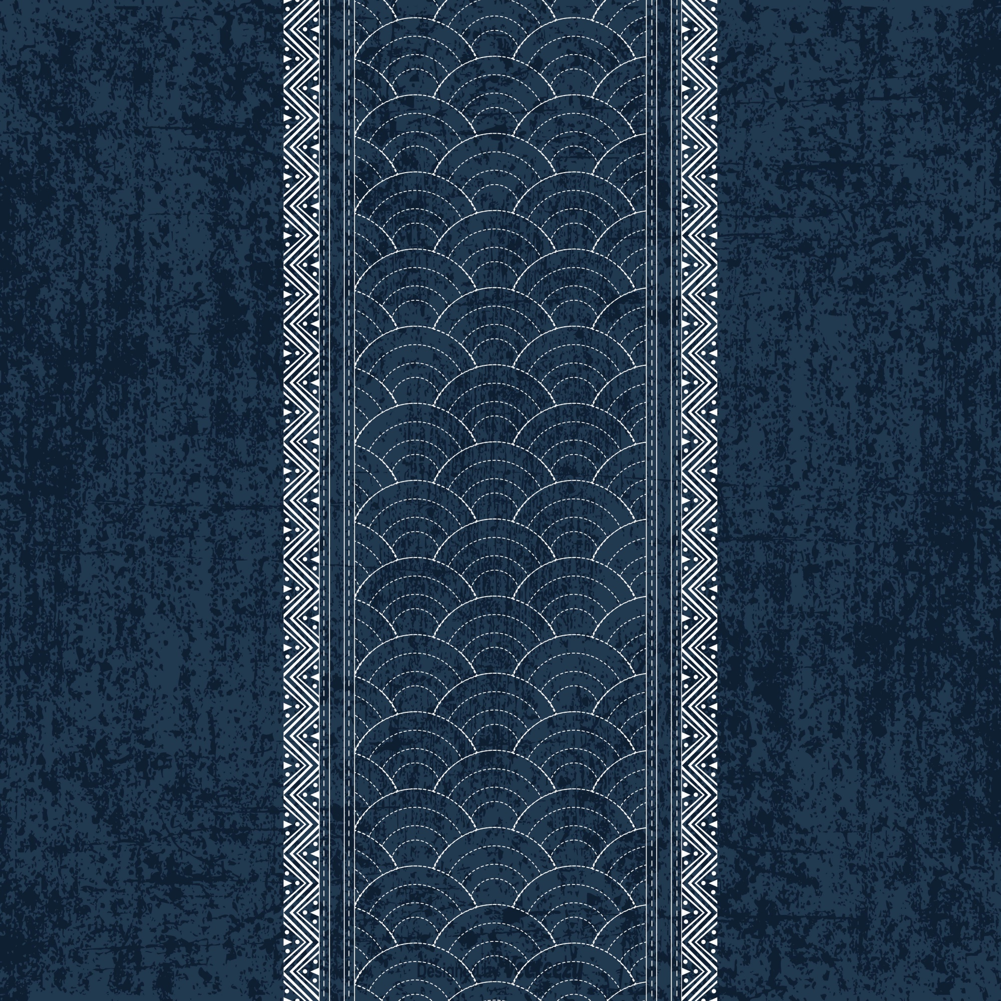 Sashiko indigo dye pattern with traditional white Japanese embroidery