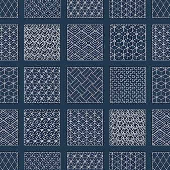 Sashiko seamless indigo dye pattern with traditional white japanese embroidery