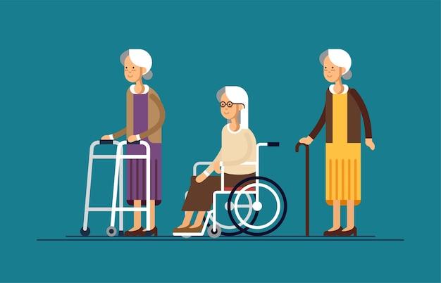 車椅子の祖母の土、杖とパドルウォーカー