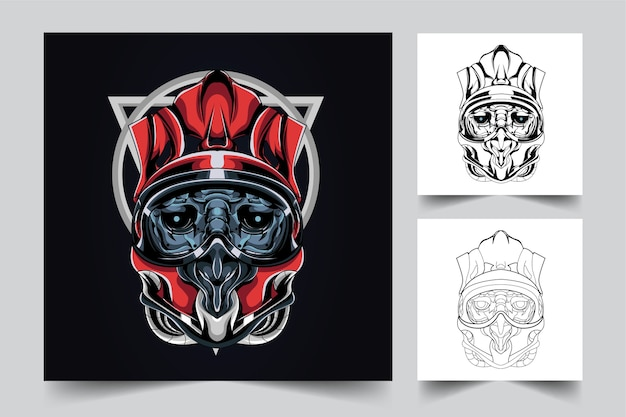 Satan helm mascot logo design with modern illustration concept style for budge, emblem