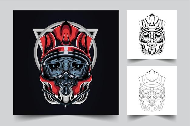 サタンヘルムマスコットロゴデザイン、バッジ、エンブレムのモダンなイラストコンセプトスタイル