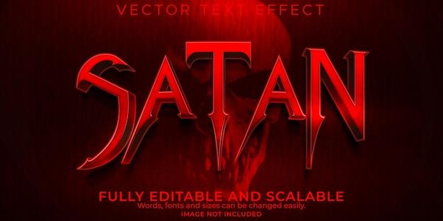 Текстовый эффект ужаса сатаны, редактируемый страшный и красный текстовый стиль