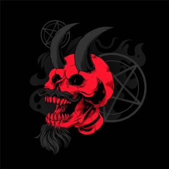 Череп сатаны с изображением рога, идеально подходит для дизайна футболок, одежды или товаров