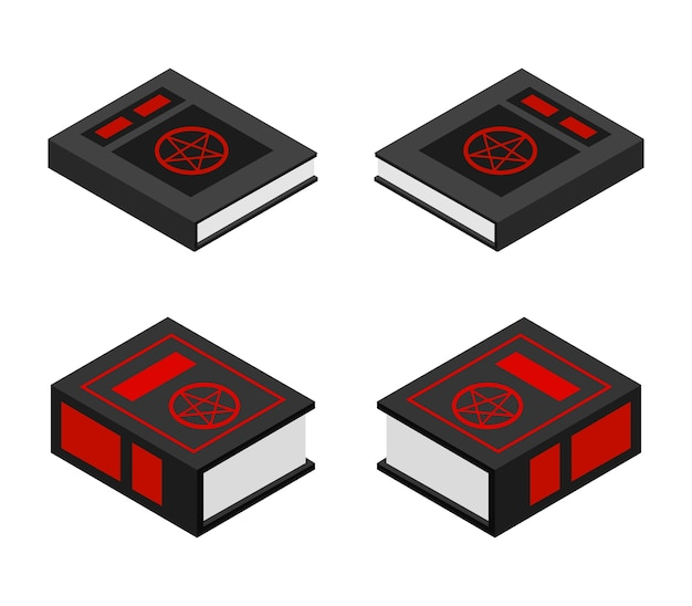 Satanic book halloween isometric set