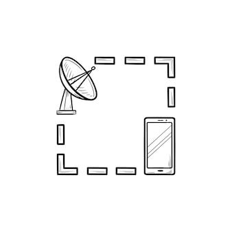 衛星アンテナと携帯電話の手描きのアウトライン落書きアイコン。 gpsナビゲーション技術、ロケーションコンセプト