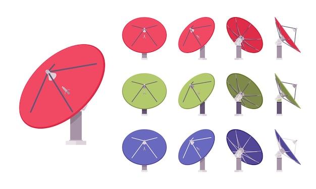 衛星アンテナセット。皿型の情報受信機、テレビ信号をキャプチャするための屋根または壁取り付け用の家庭用機器。分離、白い背景、さまざまなビューをベクトルフラットスタイル漫画イラスト