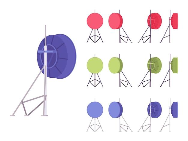 放送用衛星アンテナセット。テレビ信号を受信するための家庭用屋外料理サービス、モダンな構造。白い背景、別のビューに分離されたベクトルフラットスタイルの漫画イラスト