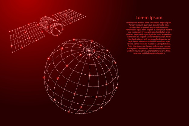Satellite artificial is flying over the globe from futuristic polygonal red lines and glowing stars