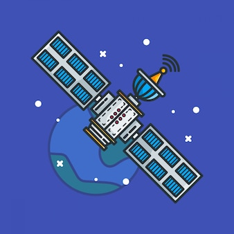 Satellite design illustrations cartoon style