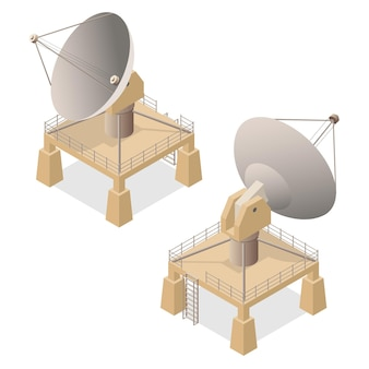 Satellite dish antenna or radar isometric view