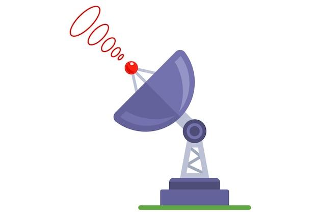 信号を受信または発信する白い背景の衛星放送受信アンテナ。フラットベクトルイラスト。