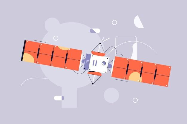 공간 그림에서 위성 비행. 우주 정거장 플랫 스타일.