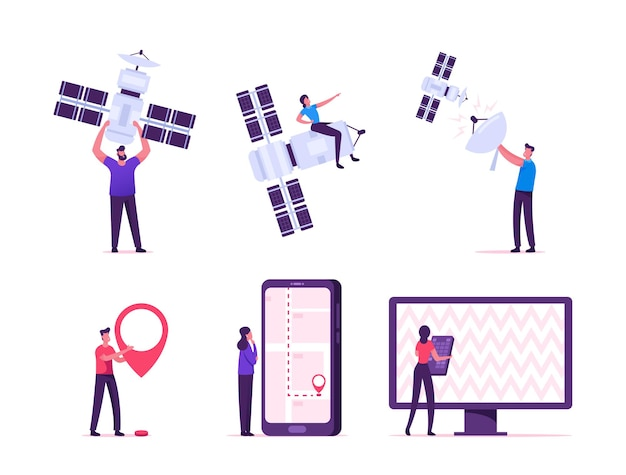 Satellite global wireless connection for gps, mobile and tv services concept. cartoon flat illustration
