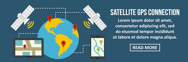 Satellite gps connection banner horizontal concept