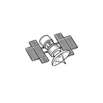 衛星手描きアウトライン落書きアイコン。放送とメディアストリーミング、ナビゲーション、コミュニケーションのコンセプト。白い背景の上の印刷、ウェブ、モバイル、インフォグラフィックのベクトルスケッチイラスト。