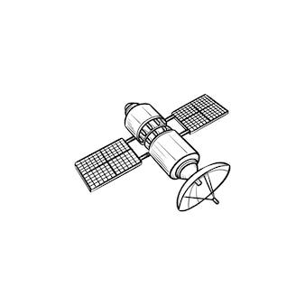 衛星手描きアウトライン落書きアイコン。ナビゲーションと通信、スペースとアンテナのコンセプト。白い背景の上の印刷、ウェブ、モバイル、インフォグラフィックのベクトルスケッチイラスト。