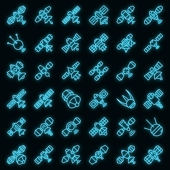 Satellite icons set. outline set of satellite vector icons neon color on black