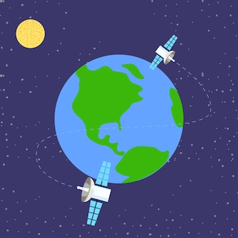 Satellite orbiting around planet earth, simple vector illustration in flat style
