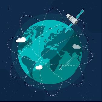 Станция спутникового космического корабля вращается вокруг планеты земля как концепция глобальной коммуникационной технологии будущего