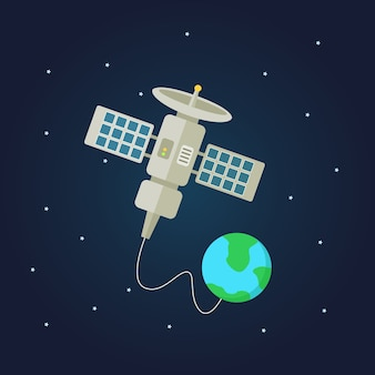 Satellite spaceship in outer space illustration