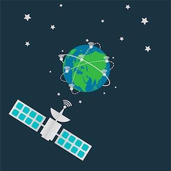 Satellites in orbit earth antenna spin around the world.