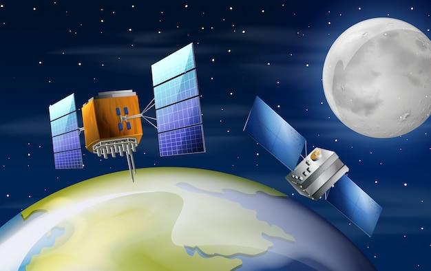 Satellites orbiting earth scene