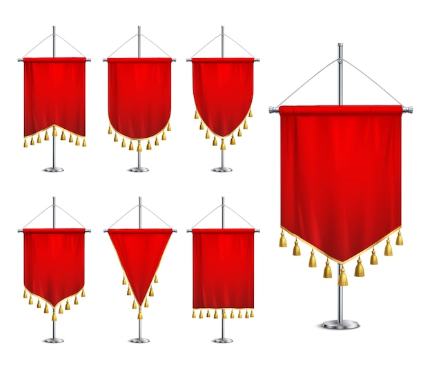Satin red various shapes pennants with golden tassel fringe on steel spire pedestal realistic set