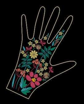 Satin stitch embroidery design with colorful flowers. folk line floral trendy on glove decor.