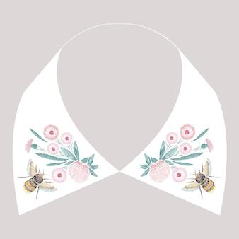 꽃과 벌이 있는 새틴 스티치 자수 디자인. 드레스 칼라에 대한 포크 라인 꽃무늬 트렌디한 패턴. 흰색 바탕에 목에 대 한 자연 패션 장식입니다.