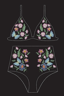 Satin stitch embroidery design with flowers and butterflies. folk line floral trendy pattern for swimsuit, bra, bikini, clothing. natural fashionable ornament for clothes on black background.