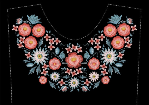Satin stitch embroidery design with flowers. folk line floral trendy design for dress neckline. ethnic colorful fashion ornament for neck