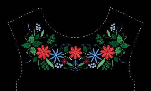Satin stitch embroidery design with flowers. folk line floral trendy pattern for dress neckline. ethnic fashion ornament for neck on black background.