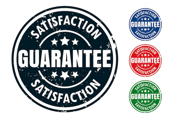 Satisfaction guarantee rubber stamp seal design set