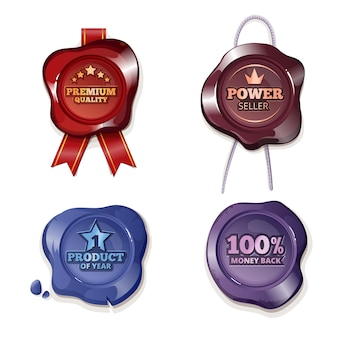 Satisfaction guarantee on wax seal. guarantee stamp, premium insignia, warranty label, vector illustration