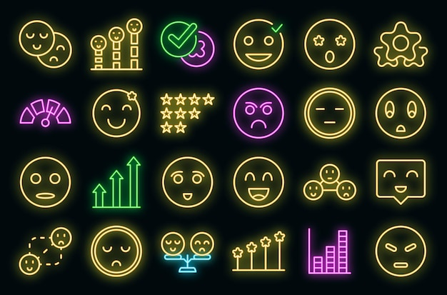 Satisfaction level icons set vector neon