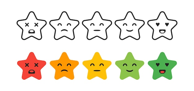 Satisfaction rating. set of feedback star icons in form of emotions. excellent, good, normal, bad, awful.  illustration