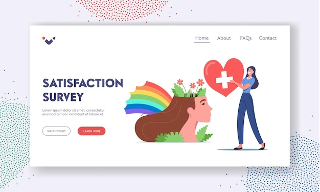 Satisfaction survey landing page template. mental health and mind balance.tiny female character carry red heart near huge woman head with flowers and rainbow. cartoon people vector illustration