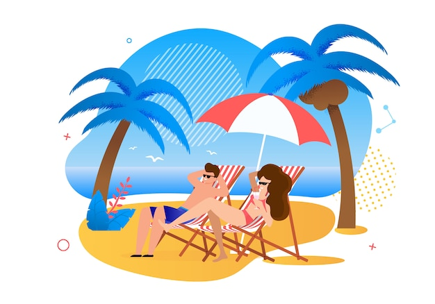 Satisfied cartoon married couple resting on tropical beach