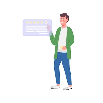 Satisfied customer riting review flat color  detailed character online service feedback excellent client rating isolated cartoon illustration