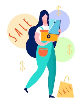Satisfied customer with purchases illustration