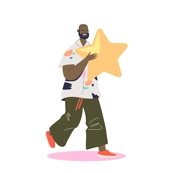 Satisfied male client ranking service giving high rank at customer survey holding golden star. user, consumer or customer feedback review system concept. cartoon flat vector illustration