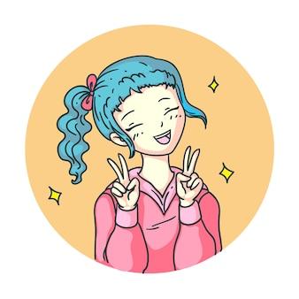 Удовлетворенная счастливая девушка из аниме-манги смеется над изолированными смайликами